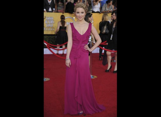 Dianna Agron in a Carolina Herrera dress.