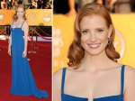 Jessica Chastain in one of a few thin strap cami dress...it's a bit Elly-May for me. Very basic.