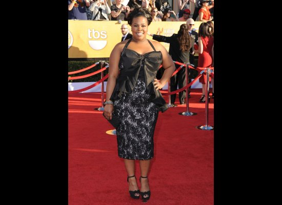 Amber Riley from Glee in a Badgeley Mischka design. Cute.