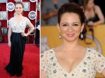 Odd angle for this photo of Maya Rudolph - not so flattering look at the dress by Neem Khan.