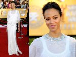 Zoe Saldana - up close looks like a glitzy kaftan with a work out tank underneath.
