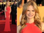 Kyra Sedgwick - lamb/mutton for Mrs Bacon? *pun intended*. Not a big fan of the cut out dresses - people look uncomfortable in them. I think this colour washes her out also.