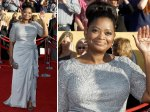 Octavia Spencer looks terrific again. Fabulous hair up do.